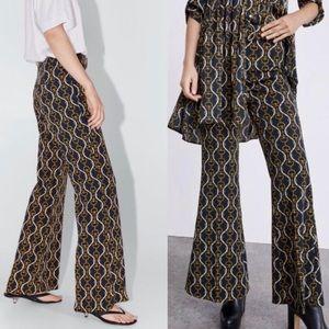 Zara Wide Leg Chain Pattern Pants